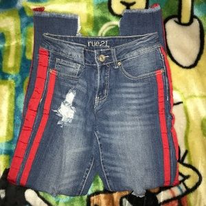 Denim Jeans with Red Strips